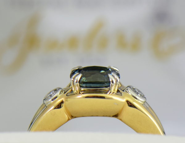 Custom Teal Sapphire  Diamond Ring in Twotone Gold 2.JPG