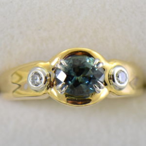 Custom Teal Sapphire  Diamond Ring in Twotone Gold 4.JPG