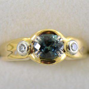 Custom Teal Sapphire  Diamond Ring in Twotone Gold 4.JPG