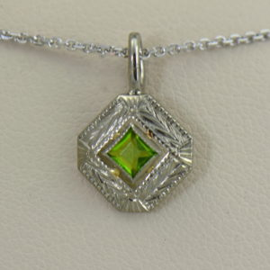 Deco Square Cut Peridot Pendant Pin Conversion.JPG
