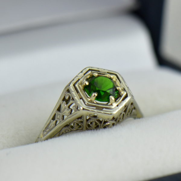 Die Struck Deco Ring with Modern Chrome Diopside Center Stone 2.JPG