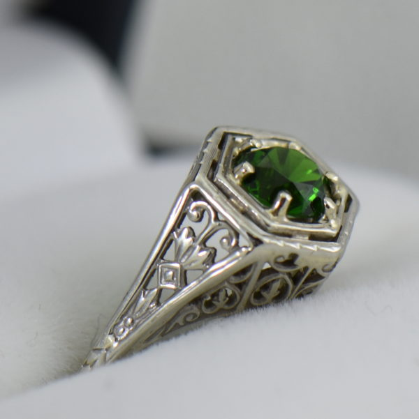 Die Struck Deco Ring with Modern Chrome Diopside Center Stone 3.JPG