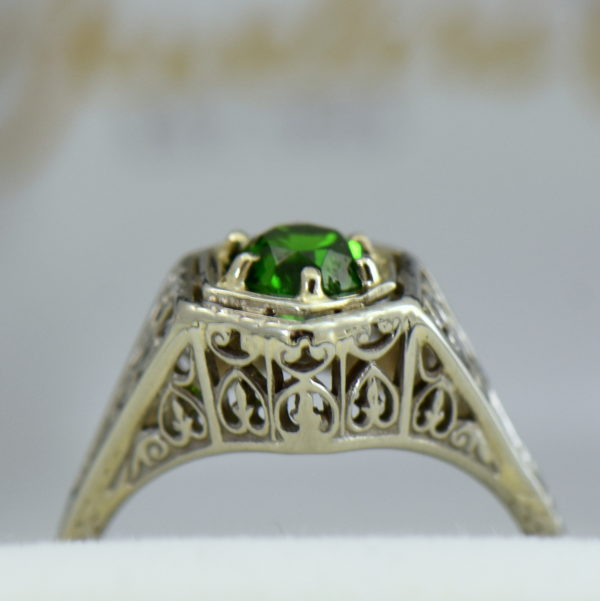 Die Struck Deco Ring with Modern Chrome Diopside Center Stone 4.JPG