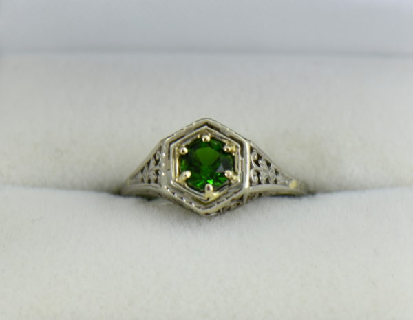 Die Struck Deco Ring with Modern Chrome Diopside Center Stone 5.JPG