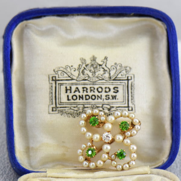 Edwardian Brooch with Demantoids Pearls  Diamonds in Harrods Box.JPG