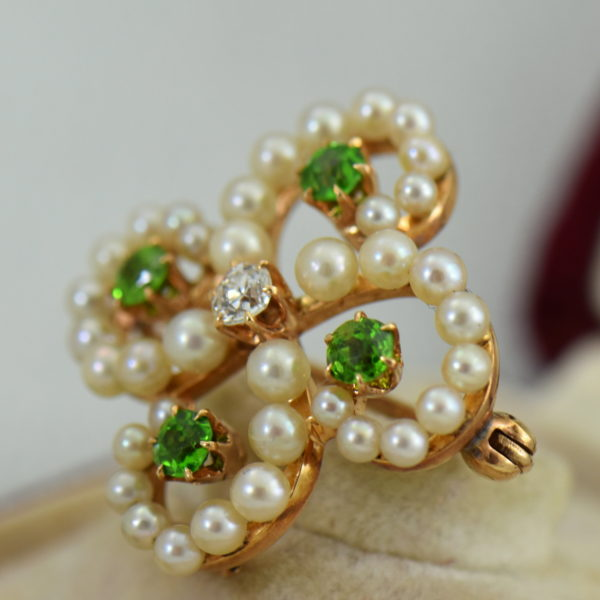 Edwardian Brooch with Demantoids Pearls  Diamonds in Harrods Box 3.JPG