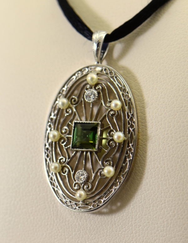 Edwardian Platinum Filigree Pendant with Tourmaline Diamonds  Pearls.JPG