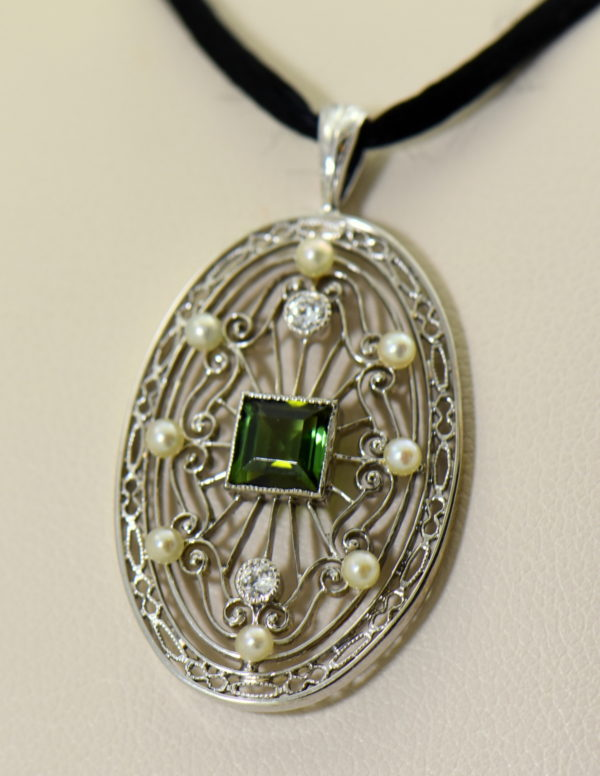 Edwardian Platinum Filigree Pendant with Tourmaline Diamonds  Pearls 2.JPG