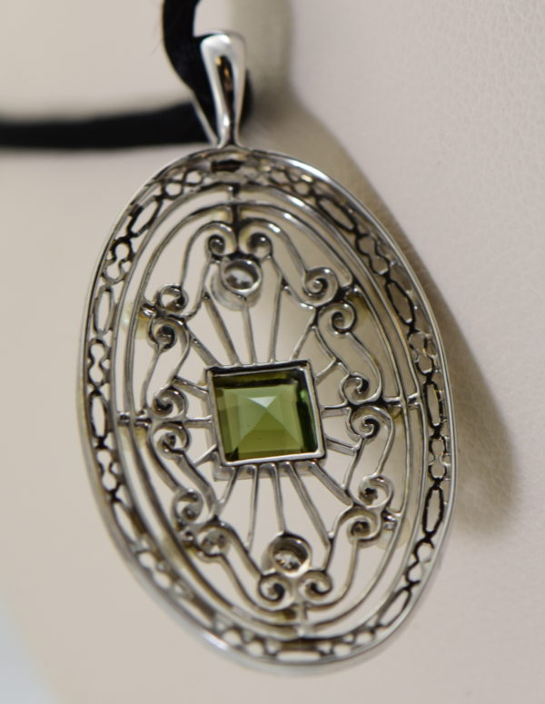 Edwardian Platinum Filigree Pendant with Tourmaline Diamonds  Pearls 3.JPG