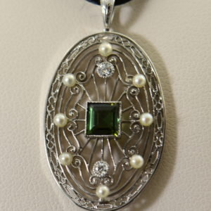 Edwardian Platinum Filigree Pendant with Tourmaline Diamonds  Pearls 4.JPG