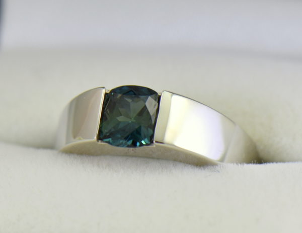 Estate Cartier Ring with Unheated Teal Sapphire in White Gold.JPG