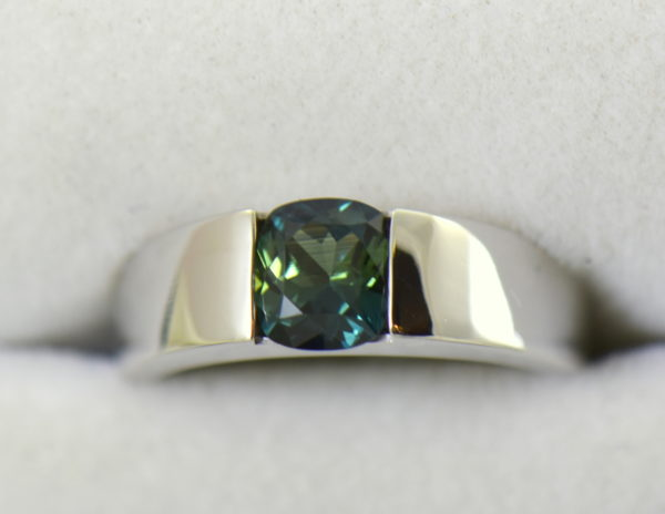 Estate Cartier Ring with Unheated Teal Sapphire in White Gold 2.JPG