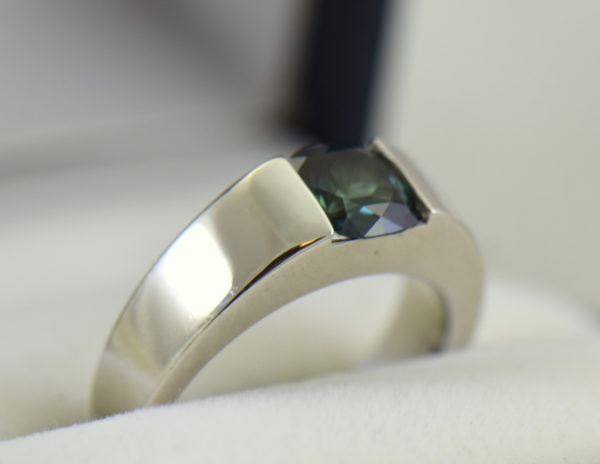Estate Cartier Ring with Unheated Teal Sapphire in White Gold 5.JPG