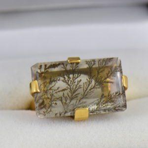 Estate Custom 18k Dendritic Agate Gents ring.JPG