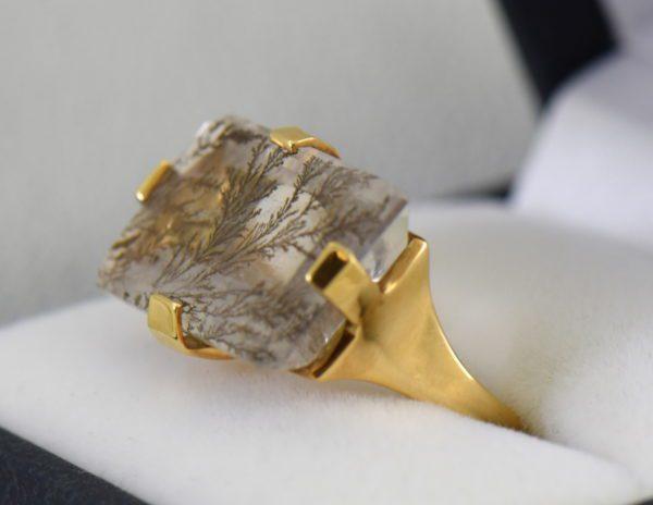 Estate Custom 18k Dendritic Agate Gents ring 2.JPG