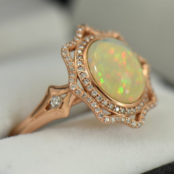 Ethiopian Opal Cocktail Ring Rose Gold 2