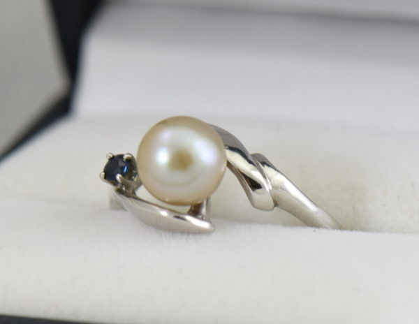 Mid Century Cultured Pearl  Sapphire Ring.JPG