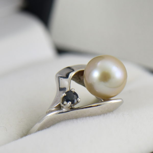 Mid Century Cultured Pearl  Sapphire Ring 2.JPG