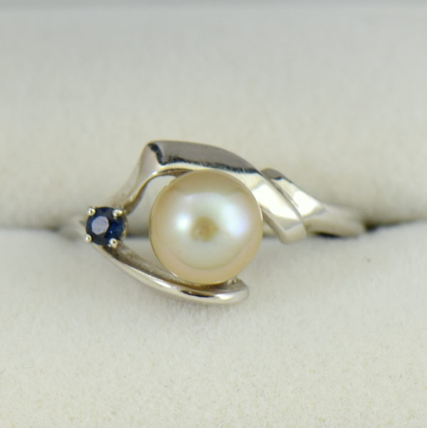 Mid Century Cultured Pearl  Sapphire Ring 3.JPG
