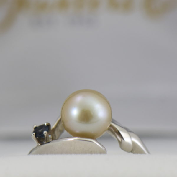 Mid Century Cultured Pearl  Sapphire Ring 4.JPG