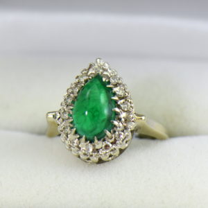 Pear Cabochon Emerald Halo Ring.JPG