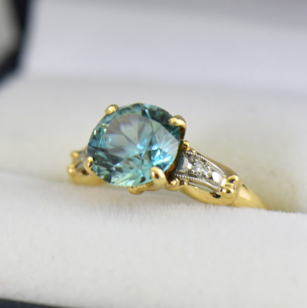 Retro Blue Zircon  Diamond Solitaire Ring.JPG