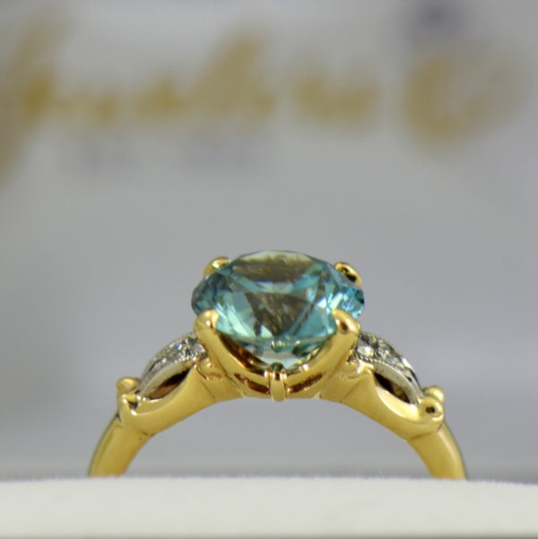 Retro Blue Zircon  Diamond Solitaire Ring 2.JPG
