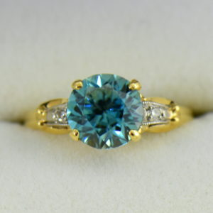Retro Blue Zircon  Diamond Solitaire Ring 3.JPG