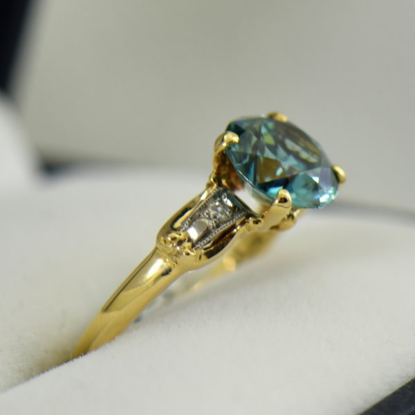 Retro Blue Zircon  Diamond Solitaire Ring 4.JPG