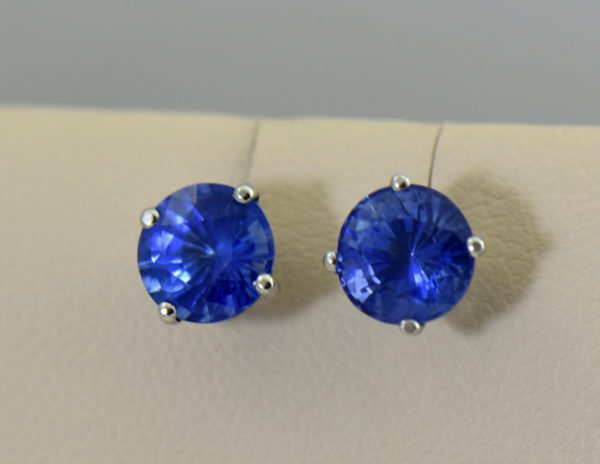 Round 6.2mm Ceylon Cornflower Blue Sapphire Stud Earrings.JPG