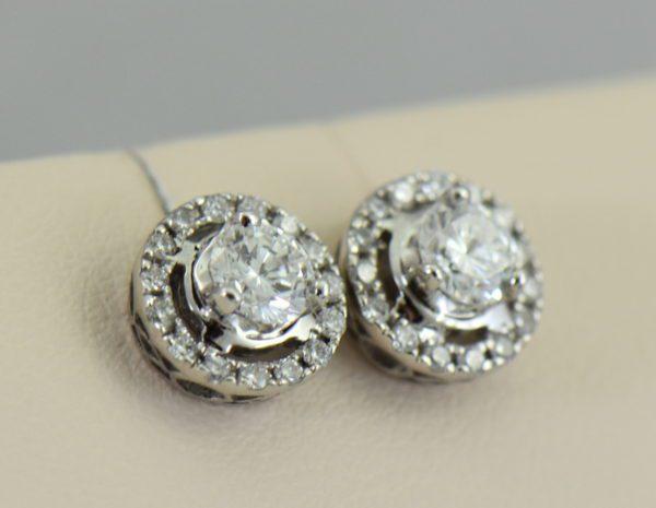 Round Diamond Halo Stud Earrings White Gold 3.JPG