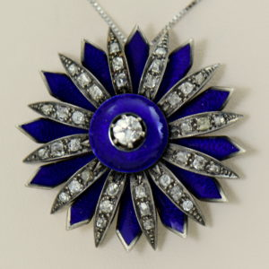Victorian cobalt blue enamel and mine cut diamond daisy starburst pendant 2 guilloche focus.JPG