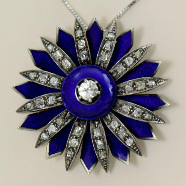 Victorian cobalt blue enamel and mine cut diamond daisy starburst pendant 2 guilloche focus.JPG