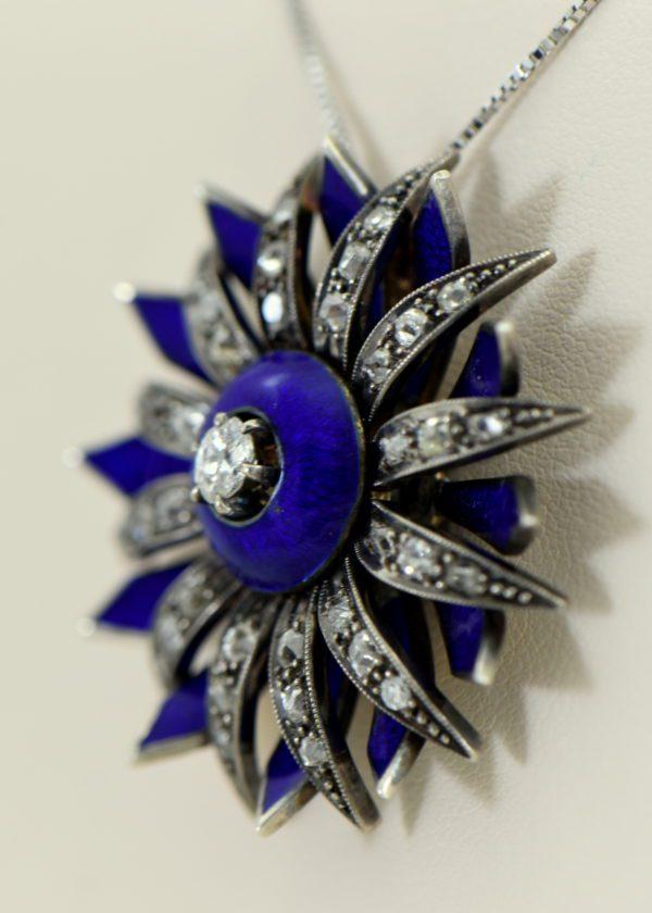 Victorian cobalt blue enamel and mine cut diamond daisy starburst pendant 3.JPG