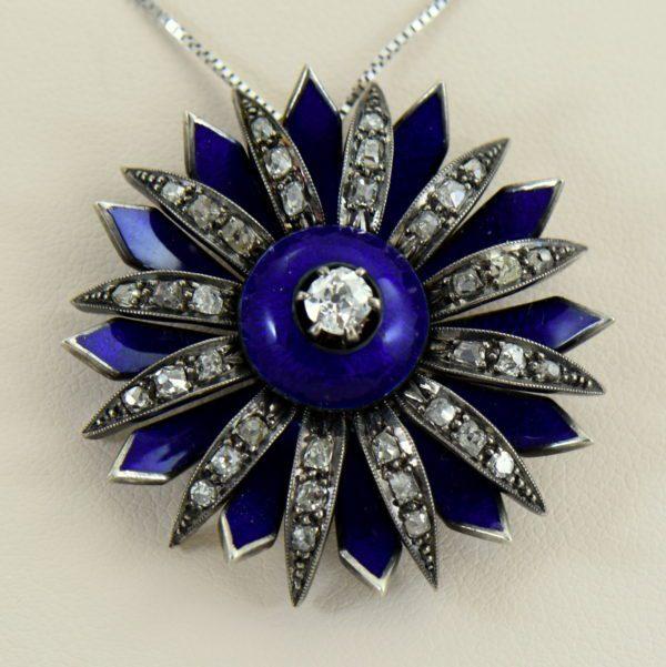 Victorian cobalt blue enamel and mine cut diamond daisy starburst pendant 4.JPG