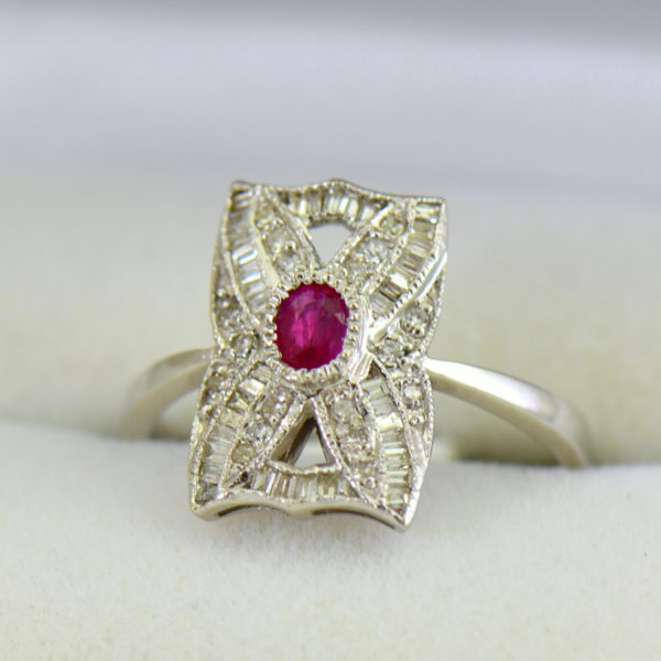Vintage Style Ruby  Diamond Cluster Ring White Gold.JPG