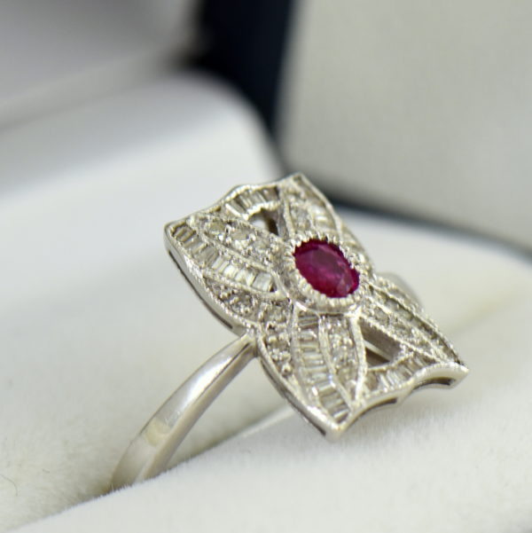 Vintage Style Ruby  Diamond Cluster Ring White Gold 2.JPG