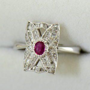 Vintage Style Ruby  Diamond Cluster Ring White Gold 3.JPG