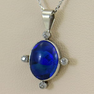 art deco platinum peacock black opal  diamond pendant.JPG