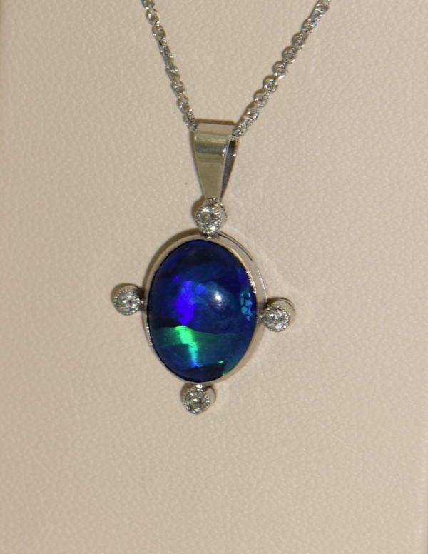 art deco platinum peacock black opal  diamond pendant 4 direct sunlight.JPG