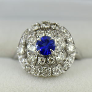 mid century platinum cocktail ring with round ceylon sapphire.JPG