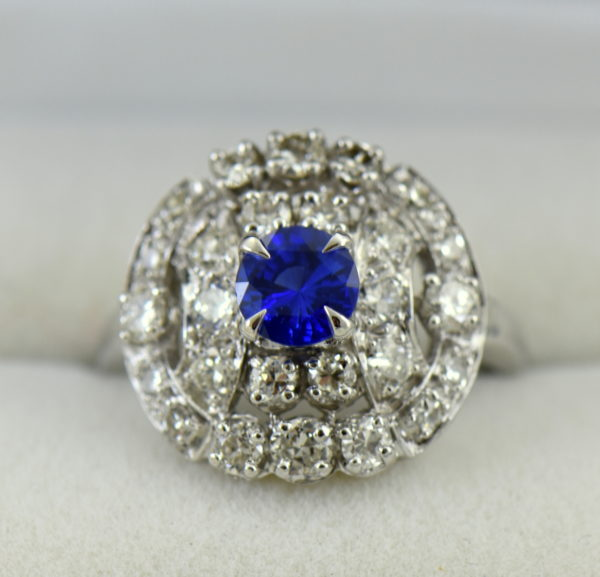 mid century platinum cocktail ring with round ceylon sapphire.JPG