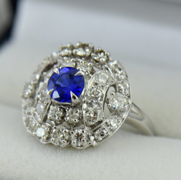 mid century platinum cocktail ring with round ceylon sapphire 2.JPG