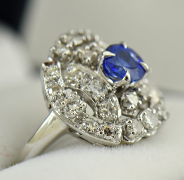 mid century platinum cocktail ring with round ceylon sapphire 3.JPG