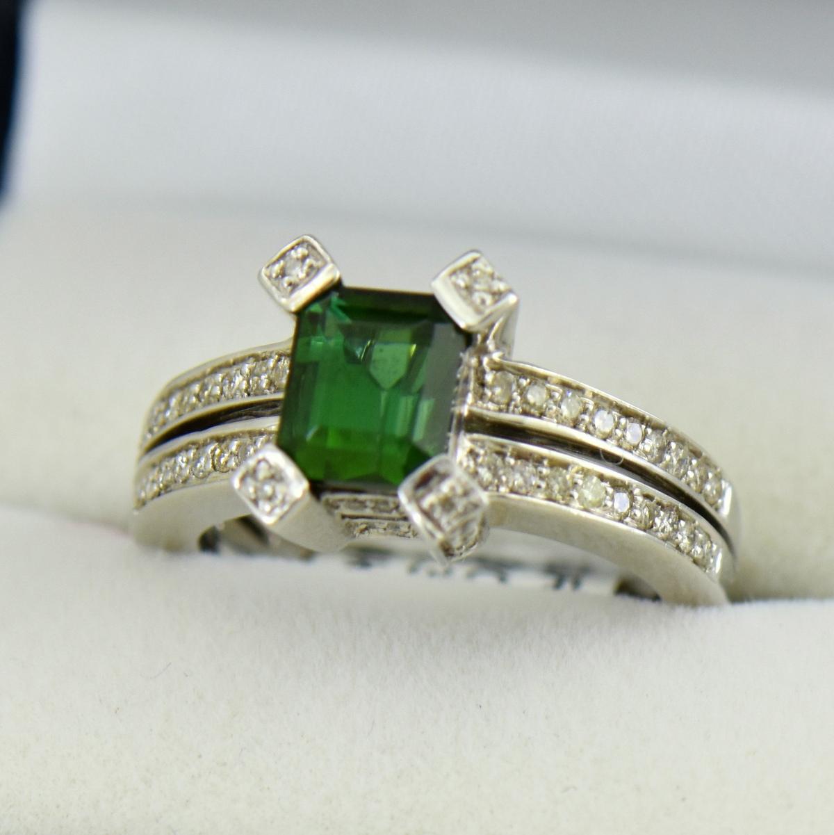 modern estate emerald cut green tourmaline ring 3.JPG