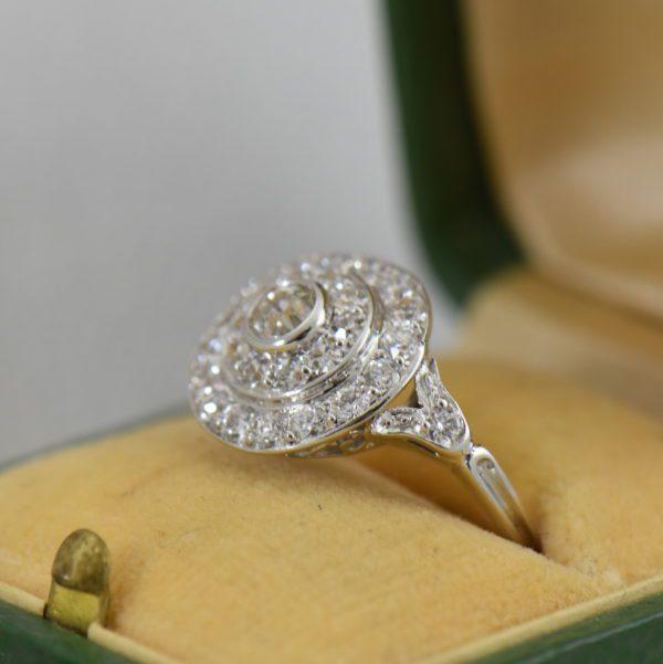 platinum art deco diamond target ring 4.JPG