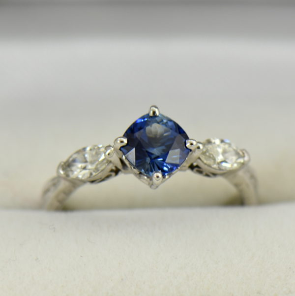 Blue Bicolor Sapphire  Marquise Diamond Engagement Ring.JPG