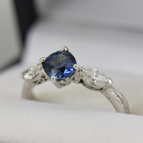 Blue Bicolor Sapphire  Marquise Diamond Engagement Ring 2.JPG