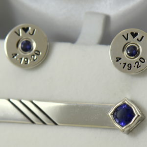 Johns shotgun cufflinks and tiebar with iolite.JPG