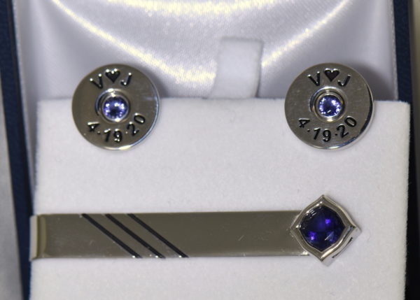 Johns shotgun cufflinks and tiebar with iolite 2.JPG